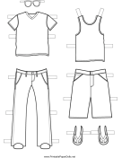 Boy Paper Doll Outfits to Color