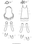 Fairy Paper Doll Outfits with Flowers to Color