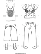 Boy Paper Doll More Outfits to Color