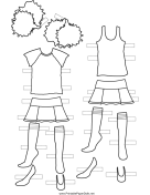Cheerleader Paper Doll Outfits to Color