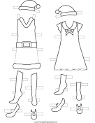 Christmas Paper Doll Dresses to Color