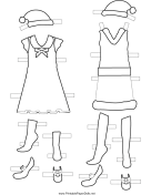 Christmas Paper Doll Outfits to Color