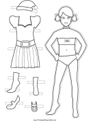 Christmas Paper Doll to Color