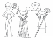 Egyptian Lady Paper Doll to Color