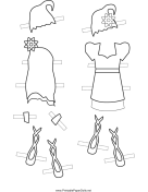 Fairy Paper Doll Outfits with Hats to Color