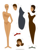 Fashion Paper Doll with Sheath
