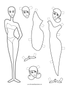 Fashion Paper Doll with Sheath to Color