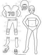 Female Football Player Paper Doll to Color