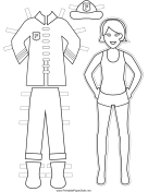 Firewoman Paper Doll to Color
