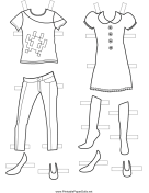 Girl Paper Doll Outfits to Color