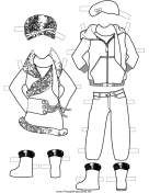 Girl Paper Doll Winter Outfits to Color