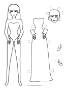 Halloween Bride Paper Doll to Color