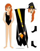 Halloween Witch with Broom Paper Doll