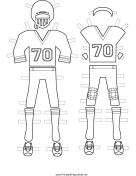Male Football Player Paper Doll Uniforms to Color