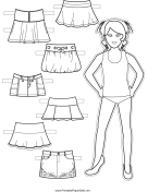 Paper Doll Skirts to Color