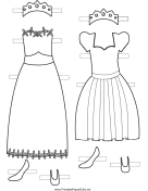 Princess Paper Doll Dresses to Color