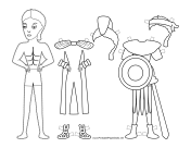 Roman Soldier Paper Doll to Color