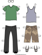 Boy Paper Doll Outfits with Jeans and Shorts