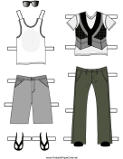 Boy Paper Doll Outfits with Vest