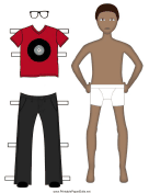 Boy Paper Doll with Red Shirt