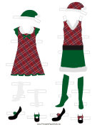 Plaid Christmas Paper Doll Outfits
