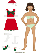 Christmas Paper Doll in Red