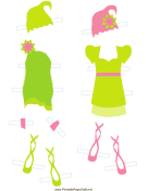 Green Fairy Paper Doll Outfits