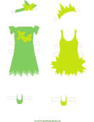 Green/Yellow Fairy Paper Doll Outfits