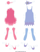 Pink/Blue Fairy Paper Doll Outfits