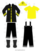 Black Paper Doll Fireman Outfits