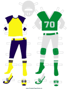 Green Football Player Paper Doll Outfits