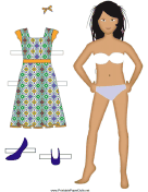 Girl Paper Doll with Sundress