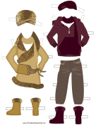 Paper Doll Winter Outfits in Red and Tan
