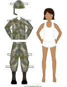 Female Soldier Paper Doll