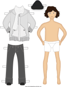 Male Paper Doll with Winter Clothes