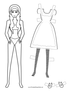 Alice in Wonderland Paper Doll to Color paper doll