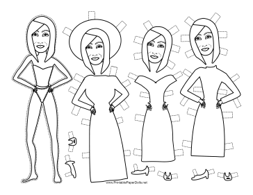 Babs Celebrity Paper Doll to Color paper doll
