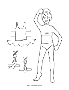 Ballerina Paper Doll to Color paper doll
