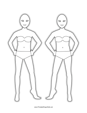 Bodies-for-Hairstyles Paper Doll to Color paper doll