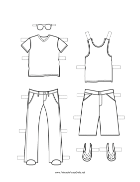 Boy Paper Doll Outfits to Color paper doll