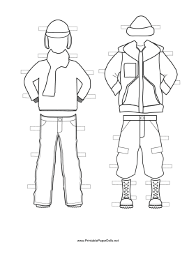 Boy Paper Doll Winter Outfits to Color paper doll