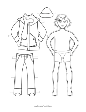 Boy Paper Doll with Winter Clothes to Color paper doll