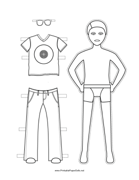 Boy Paper Doll to Color paper doll