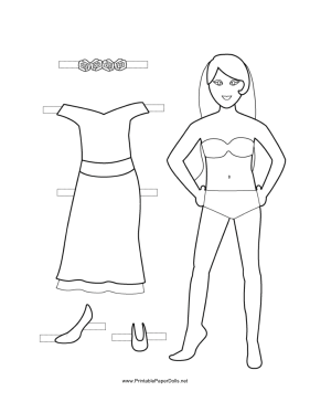 Bridesmaid Paper Doll to Color paper doll