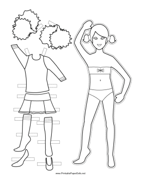 Cheerleader Paper Doll to Color paper doll