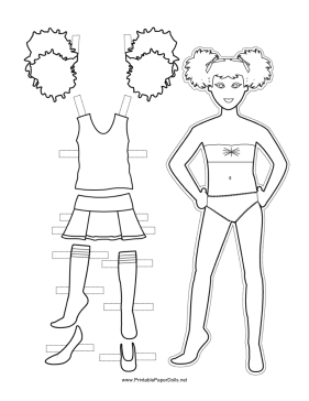 Cheerleader Sleeveless Paper Doll to Color paper doll