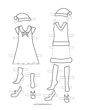 Christmas Paper Doll Outfits to Color paper doll