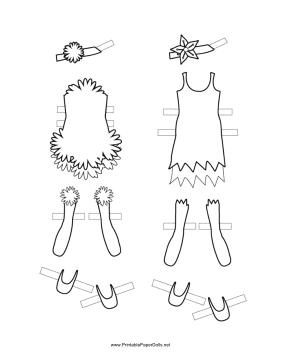 Fairy Paper Doll Outfits with Flowers to Color paper doll