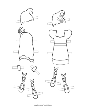 Fairy Paper Doll Outfits with Hats to Color paper doll