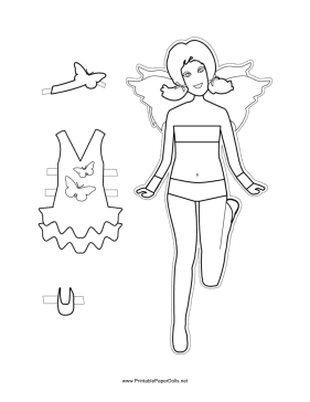 Fairy Paper Doll with Butterfly to Color paper doll